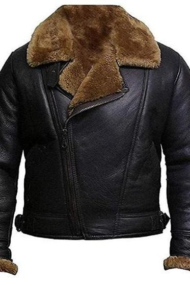 Men's motorcycle Black Leather Jacket with Warm Shearling Body lining & Polyester Sleeves lining