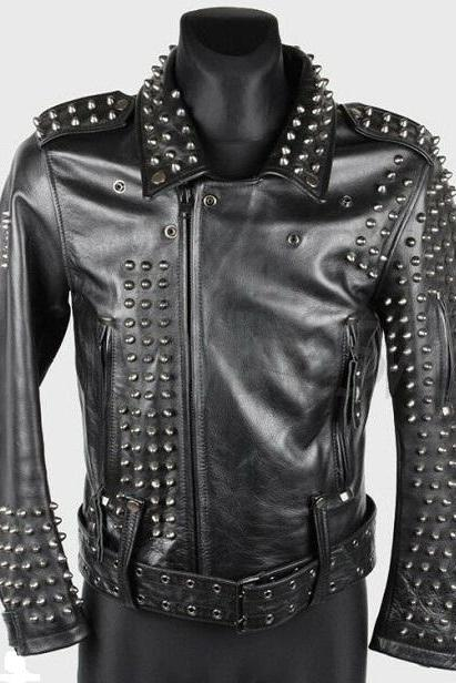 New Men's Custom Made Vintage Black Full Metallic Silver Studded Zipper Belted Stylish Leather Jacket