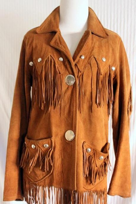 New Men's Handmade Tan Western Suede Cow Leather Coat Fringes, Studs & Beads