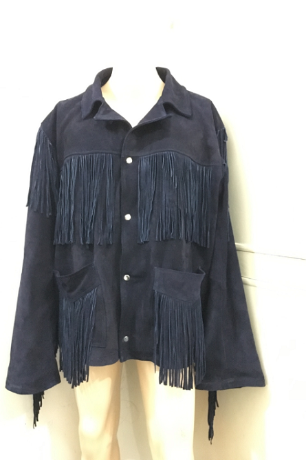 Men's New Handcrafted Blue Western / Cow Boy Fringes Cow Suede Leather Hippie Jacket