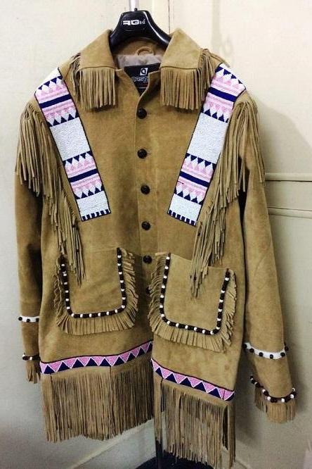 New Mens handmade Native American Buckskin Beige Buffalo Leather Bead War Coat
