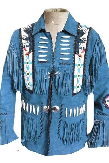 Men Blue Suede Leather Cowboy Jacket Fringes and Pearls Western Wear Coat