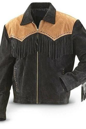 Men Black Suede Leather Coat American Cowboy Western Fringes Wear New
