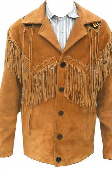Men Sunbathing Suede Leather Coat Cowboy Fringes and Pearls Western Wear