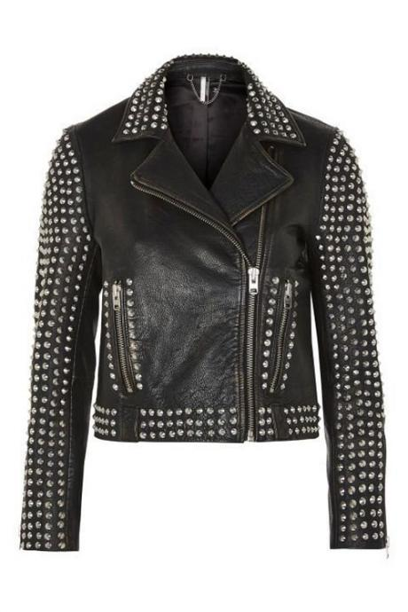Men Black Studded Leather Jacket for Bikers and Racers, Retro Style Leather Jacket, Emo Punk Fashion Jacket