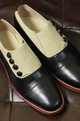 Men's Handmade Beige Suede & Black Leather Slip On Loafer Style Button Shoes Dress & Formal Wear Shoes