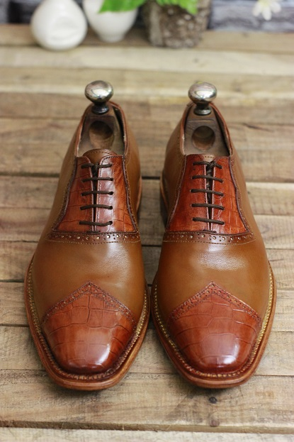 Men's Handmade Leather Shoes Tan Brown Leather Lace up Crocodile Textured Stylish Dress & Formal Wear Shoes