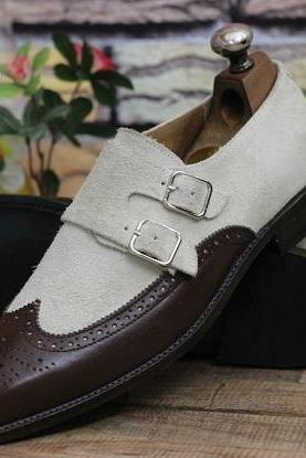 New Handmade Men's Leather Shoes Brown Leather & Beige Suede Double Monk Buckle Dress & Formal Wear Shoes