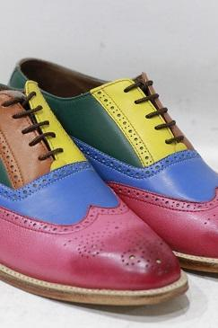 Men's New Handmade Leather Shoes Multi Color Leather Lace Up Style Wing Tip Dress & Formal Wear Shoes