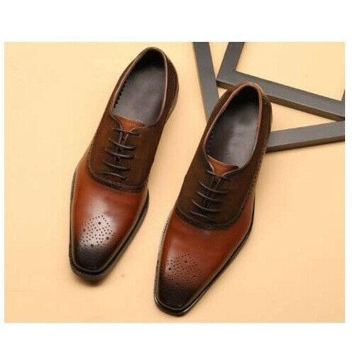 Handmade Brown Men's Brogue Lace Up Square Toe Dress Shoes, Real Leather Shoes