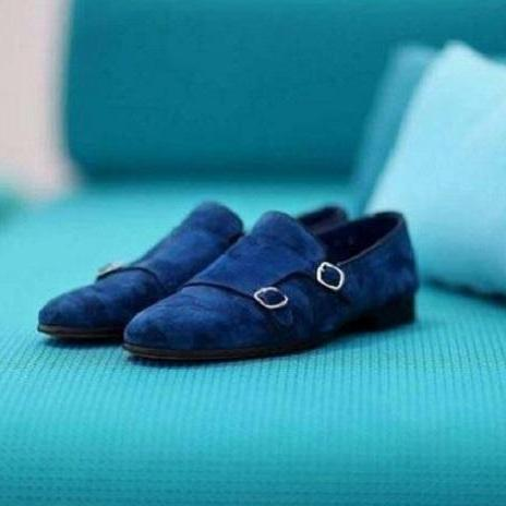 Handmade Men's Double Monk Strap Round Toe Dress Shoes, Real Suede Shoes