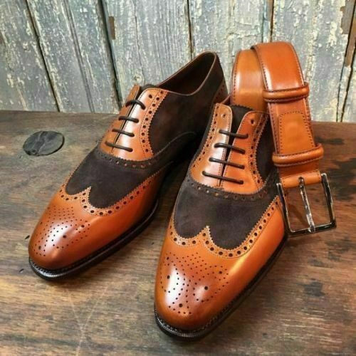 Mens Handmade Formal Shoes Leather Suede Full Upper Derby Oxford Brogue Lace Up