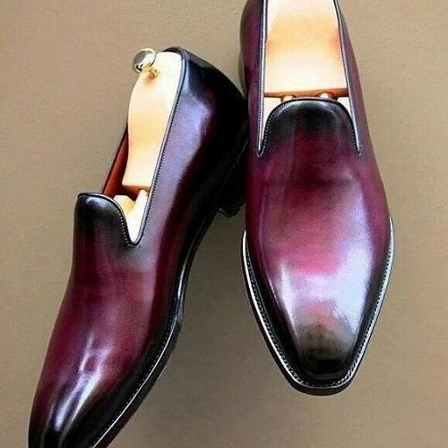 Mens Patina Loafers Shoes Handmade Ox Blood for Men Custom Made for Men Two Tone
